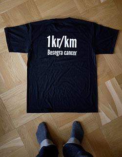 1kr/km Besegra cancer t-shirt